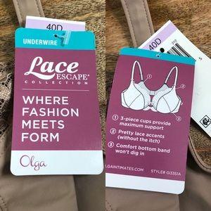 Olga Intimates & Sleepwear - Olga Nude full figure lace escape underwire bra
